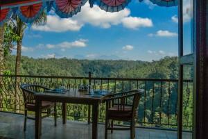 Sicht auf Gunung Agung 3031m und Gunung Batur 1717m